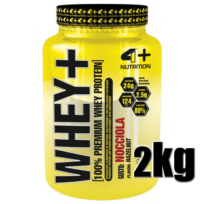 4 PLUS Nutrition WHEY+ gusto gusto WHEY+ Nocciola 2000gr Proteine concentrate 829d44