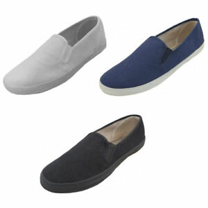 new mens canvas sneakers classic deck slip on shoes 3
