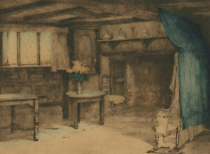Mabel-C-Robinson-ARE-1875-1953-Early-20th-Century-Etching-Cottage-Interior