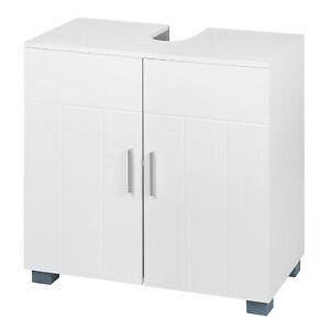 Unterschrank Badschrank Badezimmer Waschbeckenunterschrank aus MDF Weiß BZS48ws