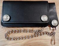 Mens Black Leather 6  Biker / Trucker Wallet 12 Chain. Snap Belt Loop. Buffalo