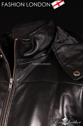 "/""VOSTOK HOODED/"" Men/'s Black PUFFER Down Winter Lambskin Leather Jacket Coat"