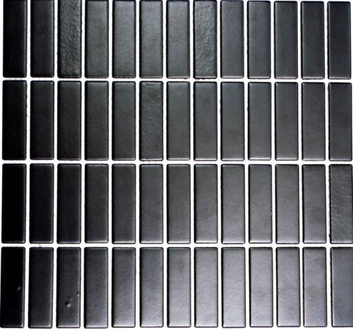 Mosaïque Carreau Céramique Baguettes Noir Mat Cuisine Salle de bains WC24-0311/_f10 nattes