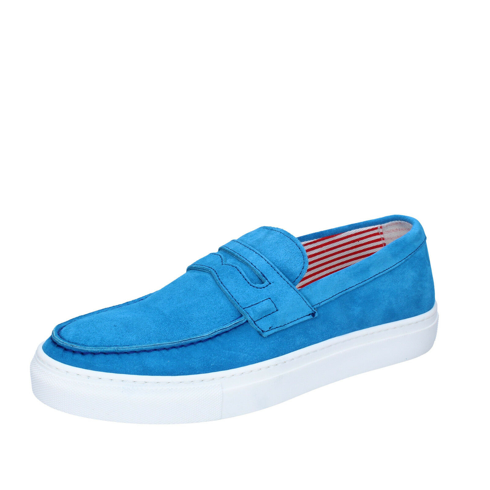 Mens shoes DI MELLA 6 (EU 40) loafers light bluee suede AB997-B