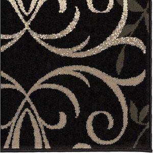 Area Rug Black White Grey Pattern Rugs Floral Decor Floor