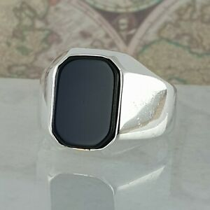 Ottoman-Signet-Black-Onyx-Gemstone-Solid-925-Sterling-Silver-Men-Ring