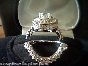 GIFT PLATINUM /& SS  ROUND LCS DIAMOND ENGAGEMENT RING SET SZ 5