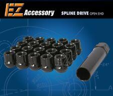 "20 Pc Set Open End Spline Drive Lug Nuts   Black   1/2""   Ford Mustang Explorer"
