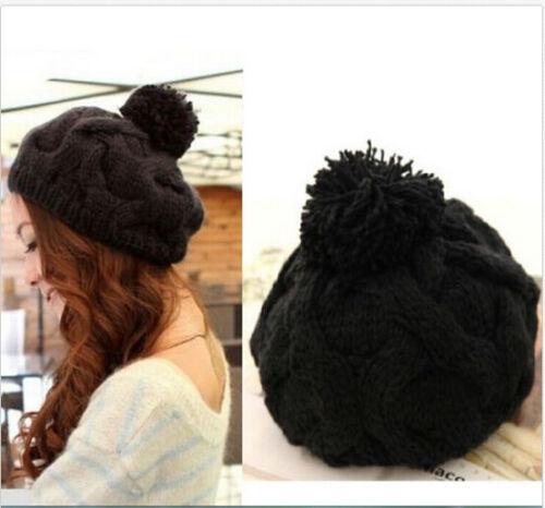 FD1416 Femmes Mode Hiver Chaud Tricot Crochet Béret Baggy Chapeau Bonnet ~ Cool Noir ~ \