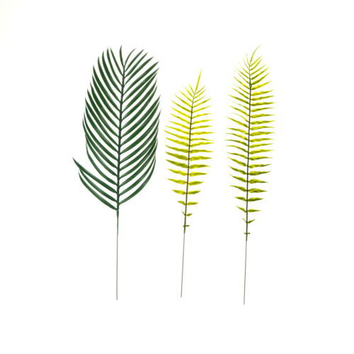 2x Green Palm Leaves Plastic Silk Fake Plant Artificial Leaf Home Party Dec BSCA