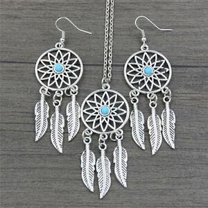 Boheme-Dreamcatcher-feuilles-pendentif-plume-collier-boucles-d-039-oreilles-bijouxZJ