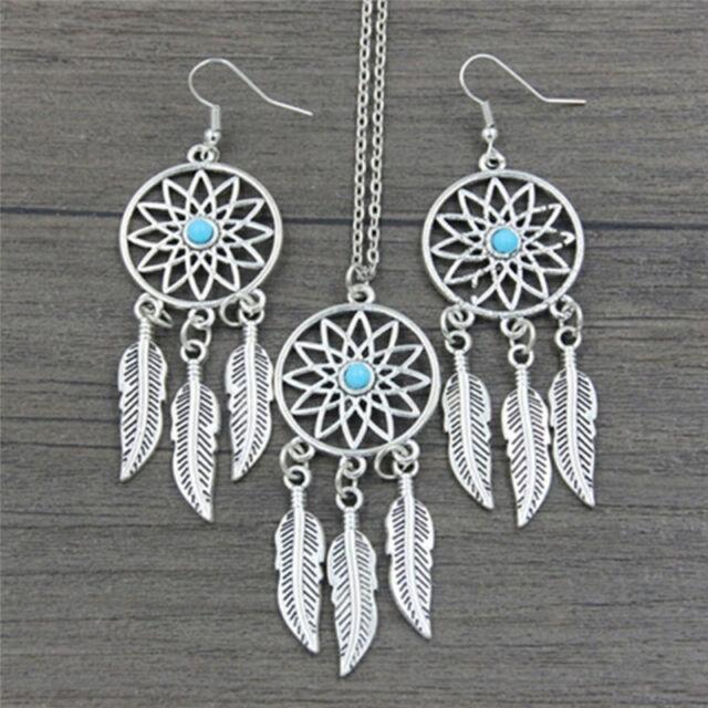 Bohème Dreamcatcher feuilles pendentif plume collier boucles d'oreilles bijoPKJ