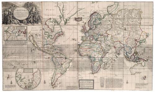 1732 Old Vintage Antique World decorative map Moll ca