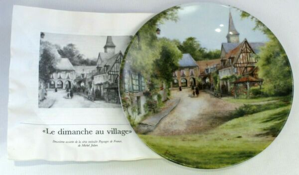 """le Dimanche Au Village"" Collectors Display Plate Michel Julien Coa Number 016 Fresco In Estate E Caldo In Inverno"