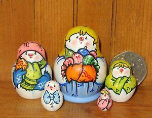 Latisheva-MINIATURE-Matryoshka-5-House-Snowman-Family-GIRL-Russian-Nesting-Dolls
