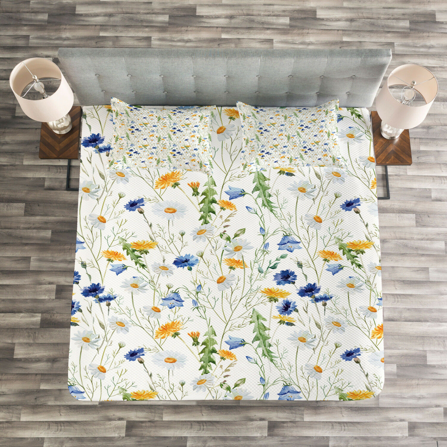 Nature Quilted Bedspread & Pillow Shams Set, Poppies Daisies Rural Print