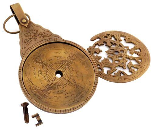 "Antique Brass Vintage Engraved Astrolabe Arabic Islamic Calendar Handmade 5/"""