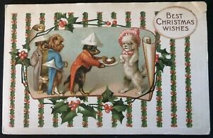 Humanized-Dressed-Dogs-Serving-Sausage-Antique-Christmas-Fantasy-Postcard-a-23