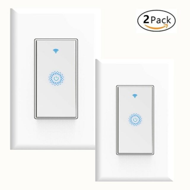 smart wifi light switch 2pack works w alexa google home android ios gift ebay. Black Bedroom Furniture Sets. Home Design Ideas