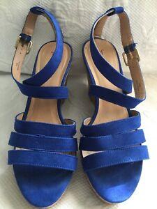 07f5e8cb4dd JUST FAB 8.5 M Blue Strapy Ankle Strap Platform Wedge Heels Sandals ...