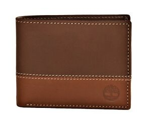 Timberland-Men-039-s-Commuter-Leather-Bifold-Wallet-Brown-Tan