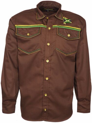 Men/'s Jamaican Shirt Full Sleeves Jamaica Coloured Full Front Button Closure