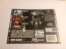 Final Fantasy 7 Back Cover Only! No Box No Game Black Label PAL VGC