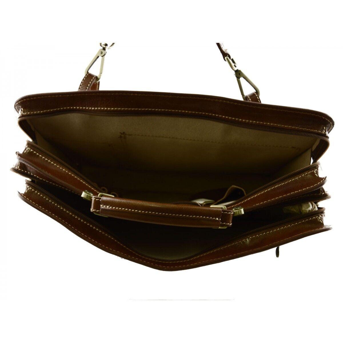 Serviette en Cuir Véritable - mod. Large - Véritable Poni Cognac e86454