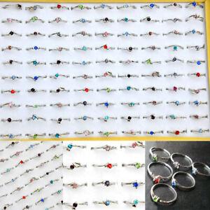 50Pcs-Wholesale-Lots-Fashion-Jewelry-Crystal-CZ-Rhinestone-Silver-Plate-Rings