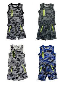 Boys Kids Camouflage Summer Vest T-Shirt Short Set Camo Army Print Outfits Sets
