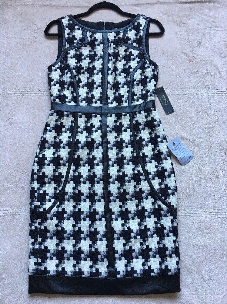 Laundry Woherren Sleeveless Knit Dress, Größe 4, schwarz & Weiß Houndstooth,NEW