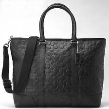 NWT Coach Men's Heritage Embossed Sign Tote Bag in Silver/Black F 71136 F 71136