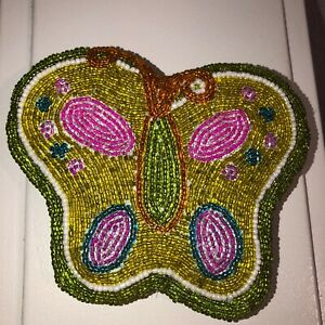 Vintage-Look-Beaded-Butterfly-Coin-Change-Purse-Double-Sided-Green-Pink-Zipper