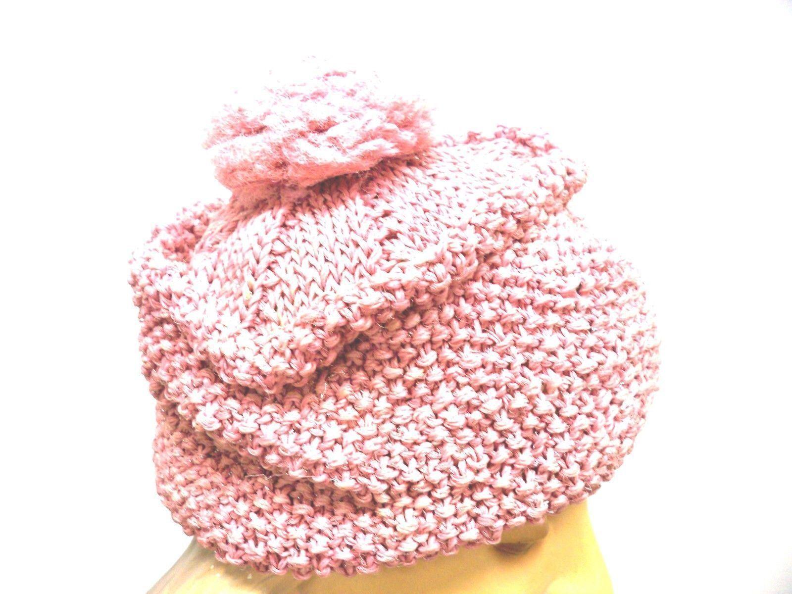 VTG Knit Hat Dusty Rose Pink Metallic Hand-Knit 1… - image 6