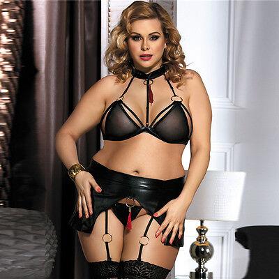 289e25ae77fd Details about Women's 3pc Black Faux Leather Lingerie Striper Clubwear Bra  Garter Panty Set