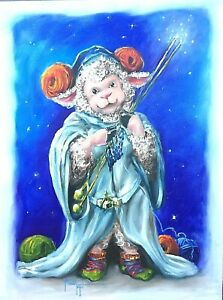Original-Oil-Painting-THE-FLEECE-BE-WITH-EWE-Cosplay-Character-Sheep-Togel-Signe
