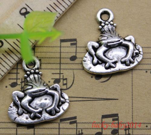20//60//100pcs Style Rétro belle grenouille prince Alliage Charms pendentif À faire soi-même 17x15mm