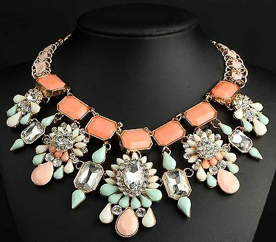 Fashion pentand Crystal Bib Statement charm chunky colorful collar Necklace 707