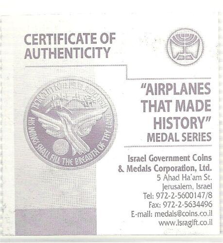 COA GOLD PLATED Hercules 50mm Bronze proof ISRAEL Air Force Planes