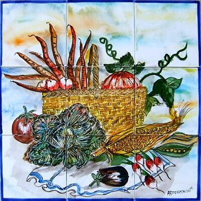 DECORATIVE CERAMIC TILES: MOSAIC PANEL HAND PAINTED KITCHEN BACKSPLASH PATIO ART