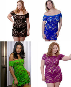 Plus-Size-Lingerie-1X-thru-6X-Black-Blue-Green-Grape-Lace-Mini-Chemise-VX5095X