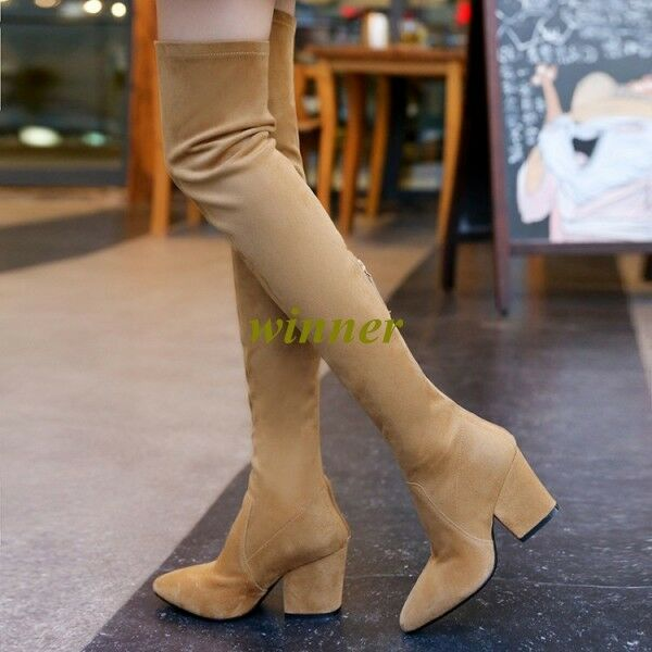 Us 14 Womens Faux Suede Over The Knee Boots High Heel Block Formal Party shoes