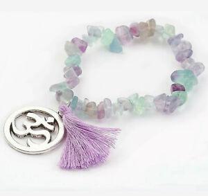 Fluorite Bracelet Crystal Gemstone Love Reiki Healing Chakra Charm Purple Stone