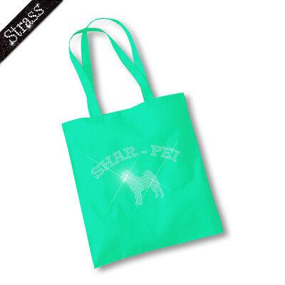 Jutebeutel Beutel Einkaufstasche Bag Handtasche Tasche Strass Hund Shar - Pei M1