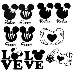 Mickey And Minnie Wedding.Details About Mickey Minnie Mouse Marriage Wedding For Home Wall Window Decor Auto Car Truck
