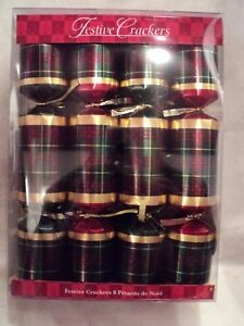 FESTIVE-CHRISTMAS-CRACKERS-034-FESTIVE-PLAID-034-Pack-of-8-NEW