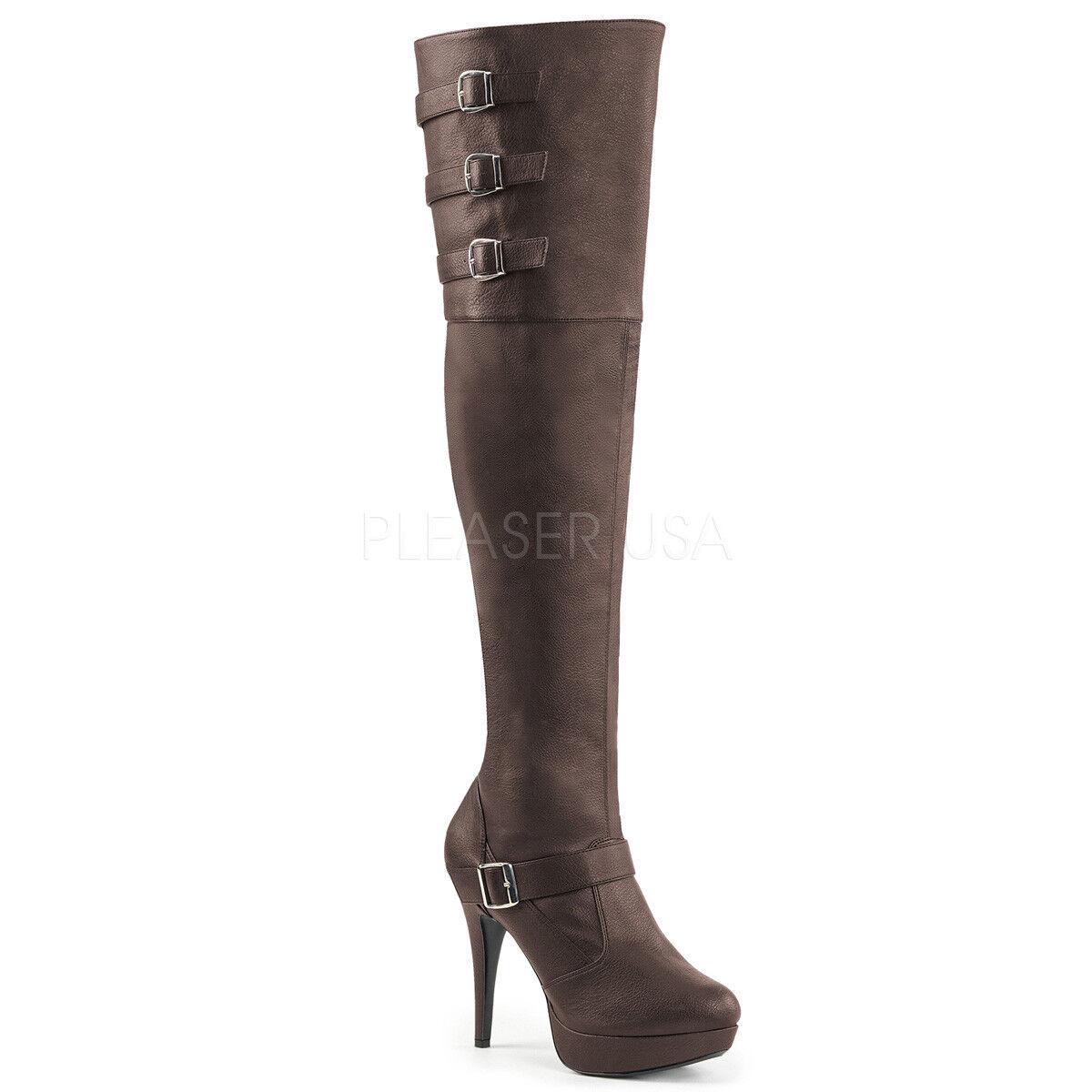 Negro Alto del del del muslo Sobre La Rodilla Cuero botas De Plataforma Mujer Talla 9 10 11 12 e5935d