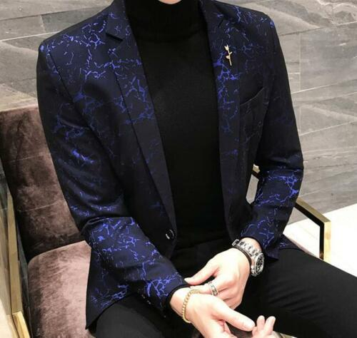Jacken Ein Mäntel Blumenkleid Kleid Printed Clubwear Knopf Formales Mens pBWIp