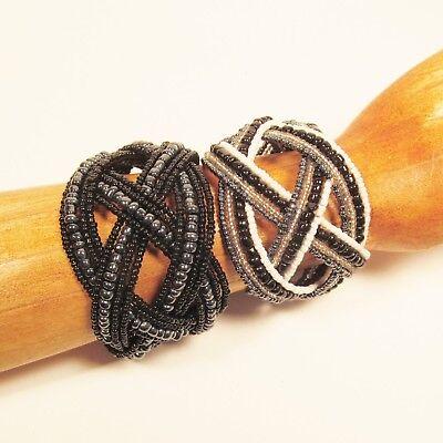 2 WIDE Black Hematite Color Boho Handmade Beaded Cuff Bracelets Value Price