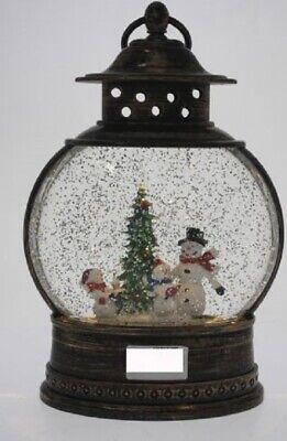 COTTON CANDY IMPORTS BRASS COLOUR CHRISTMAS LANTERN  LED GLITTER  SNOWMAN /& BIRD
